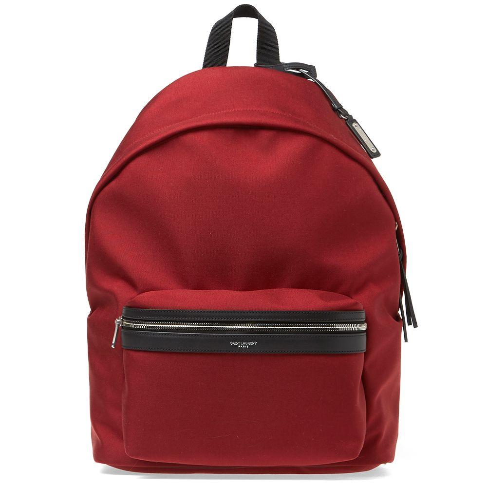 b0477c3ec4 Saint Laurent Canvas City Backpack Red