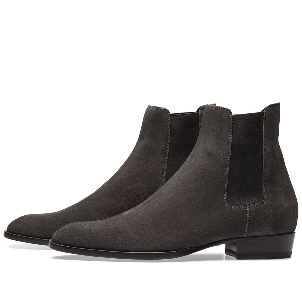 691a266c87fa Saint Laurent Wyatt Suede Chelsea Boot Asphalt