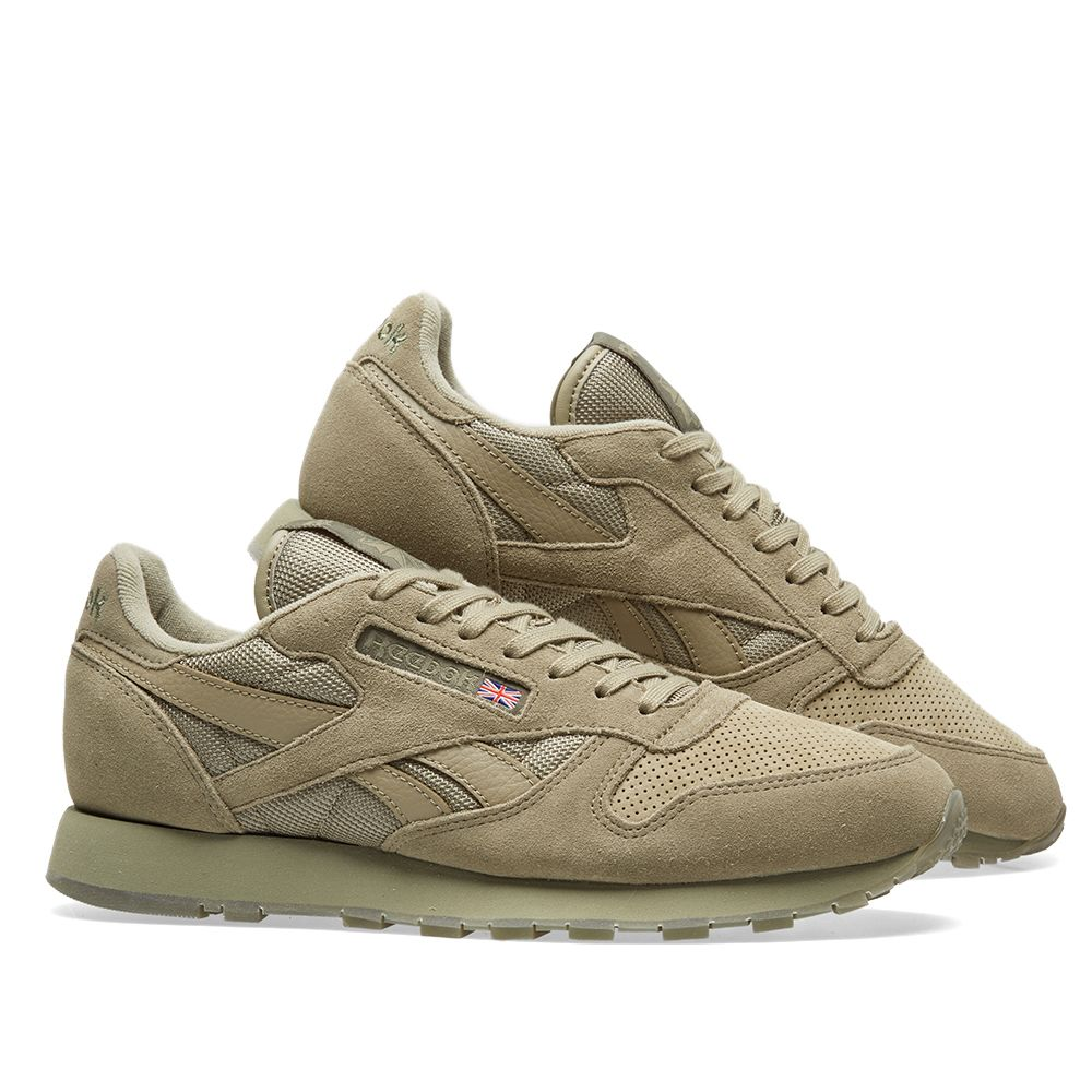 Reebok Classic Leather SM Khaki   Hunter Green  a03d6c1fa4d4