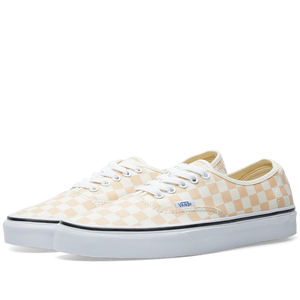 Vans Authentic Checkerboard Apricot Ice   Classic White  bce959c3c0b