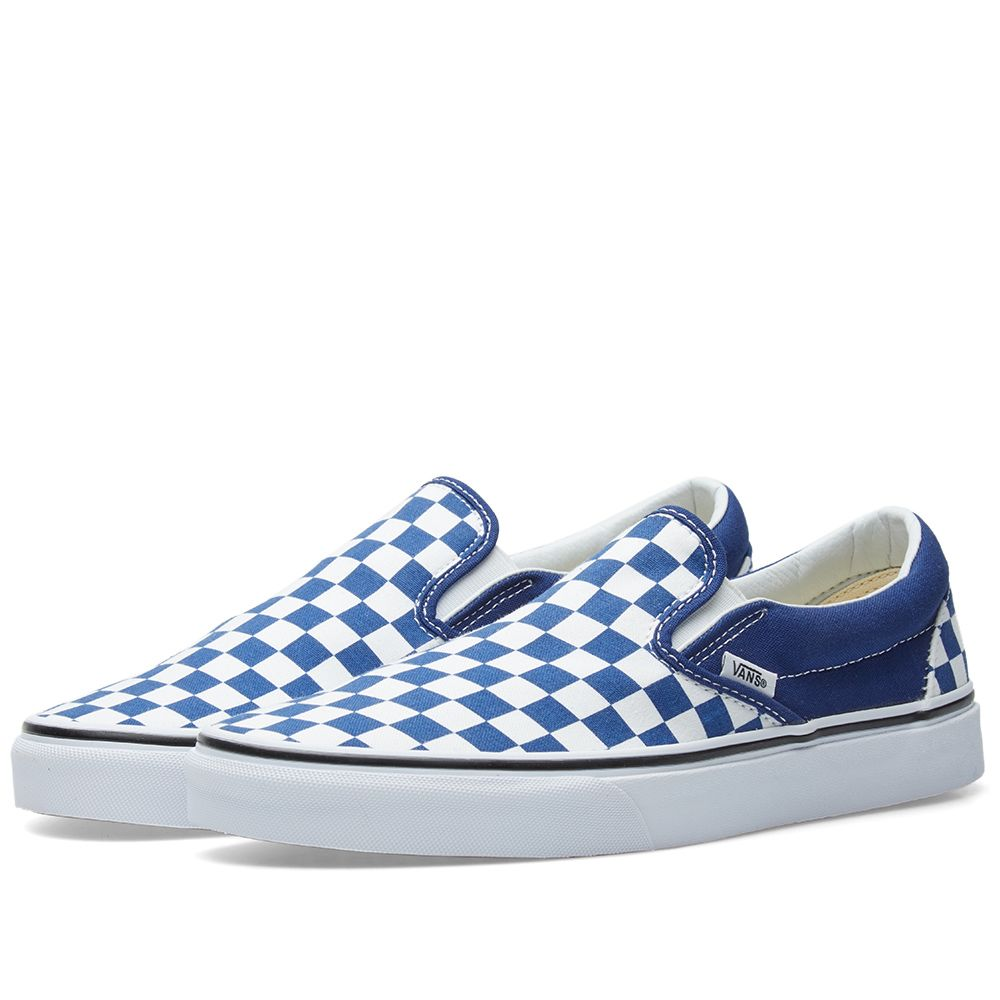 Vans Classic Slip On Checkerboard Estate Blue   True White  9d9414fe1f57