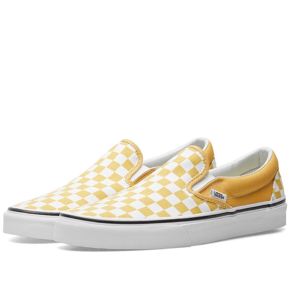 d16763dcbd4215 Vans Classic Slip On Checkerboard Ochre   True White