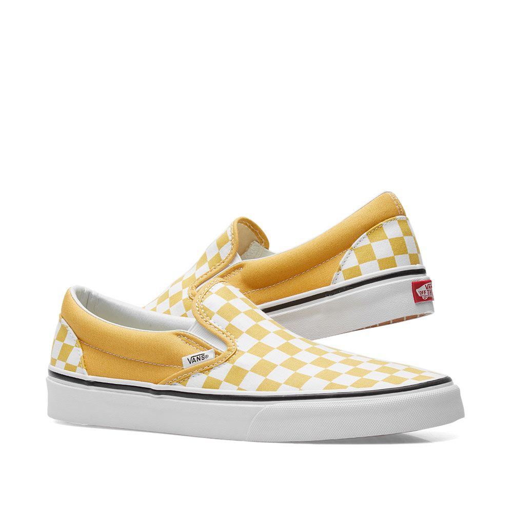 f9fe9ba156bbf4 Vans Classic Slip On Checkerboard Ochre   True White