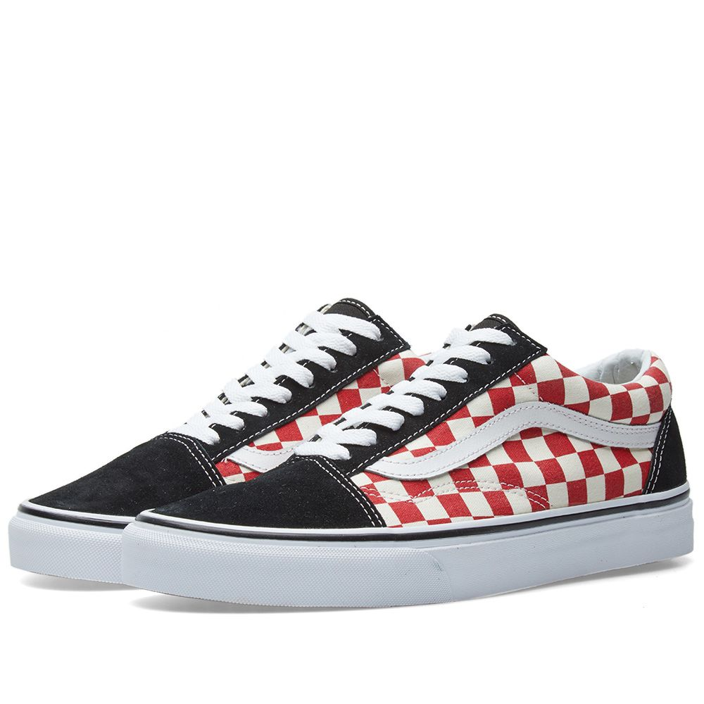 c6d00567cfb Vans Old Skool Checkerboard Black   Red