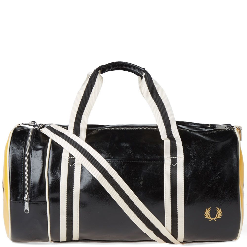 d5b9c852fa31 Fred Perry Classic Barrel Bag Black   Yellow
