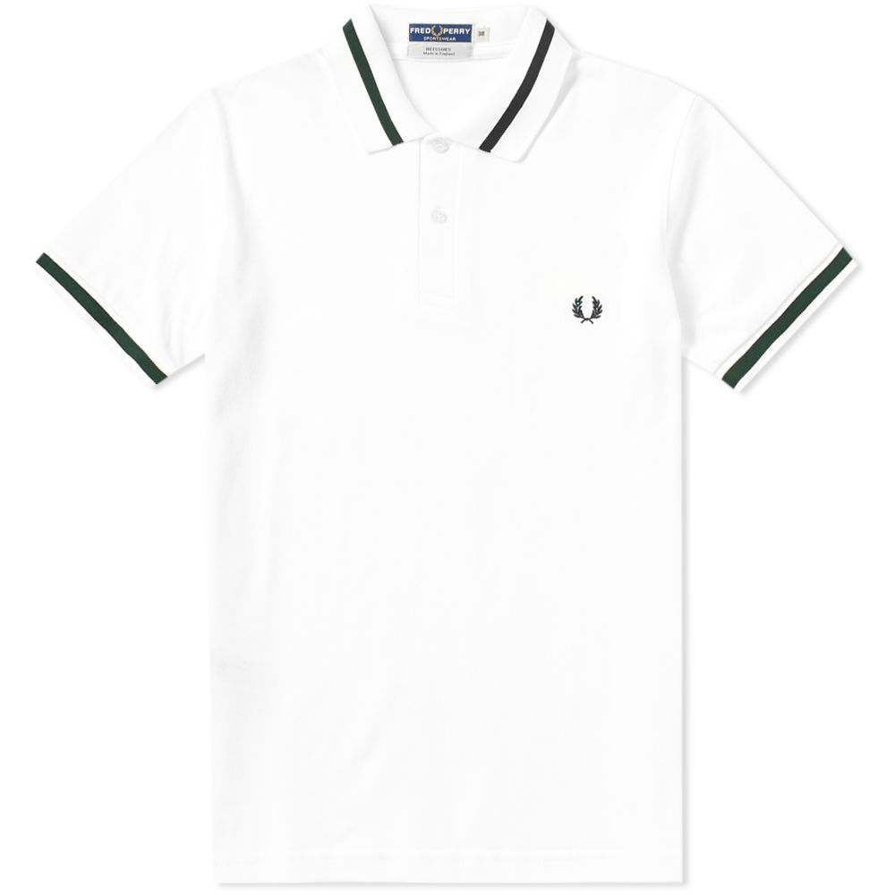 Fred Perry Original Single Tipped Polo White Tartan Green End