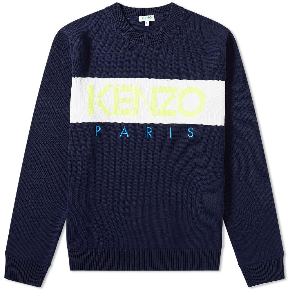 Kenzo Paris Logo Crew Knit Midnight Blue   END. 86ad5d30444