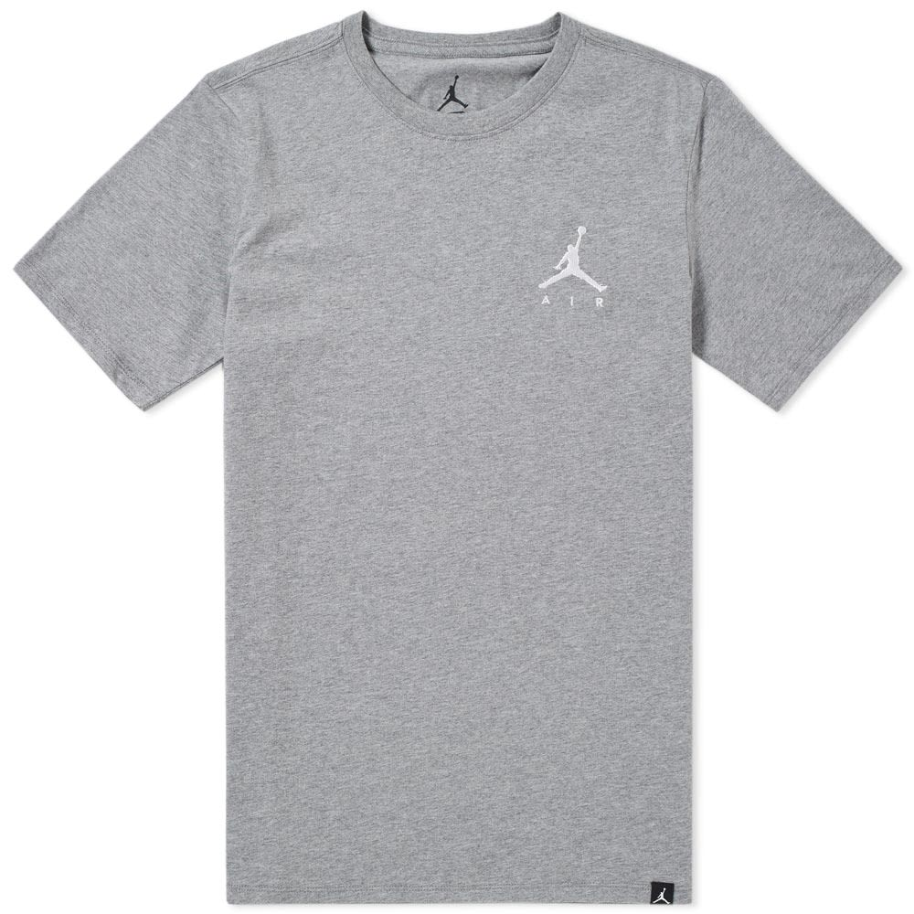 5c65a71527ee Jordan Jumpman Air Embroidered Tee Carbon Heather   White