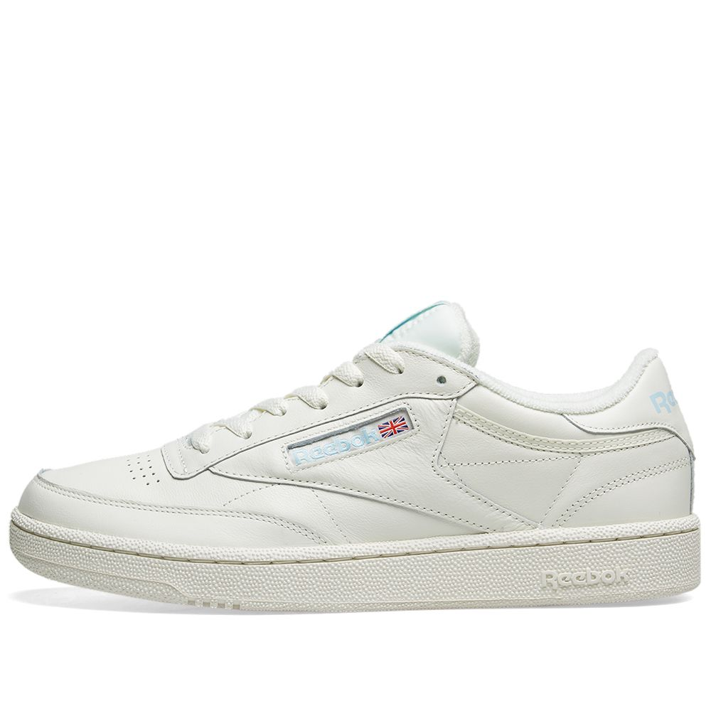 2c34ce0677a487 Reebok Club C 85 Vintage Leather Classic White   Denim Glow