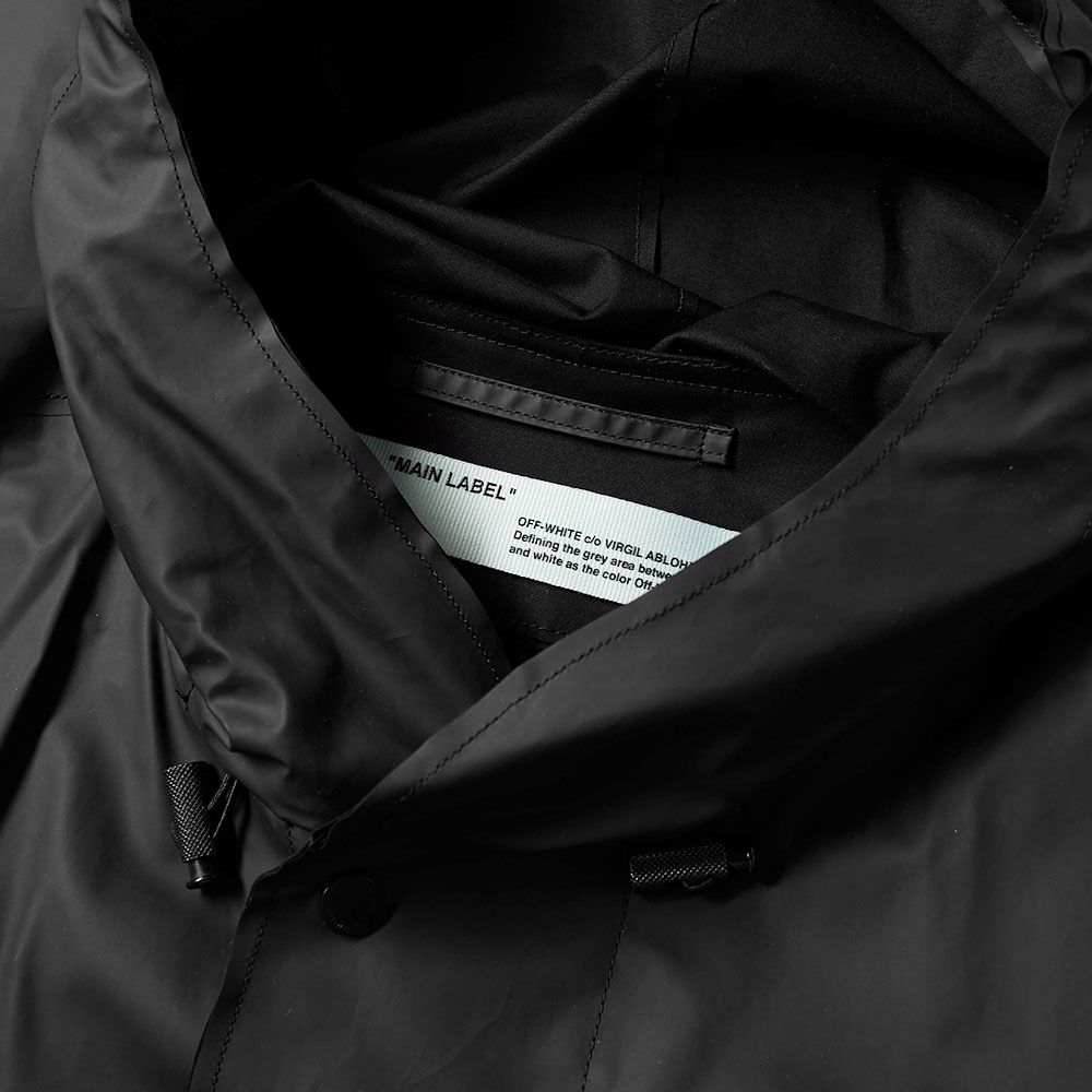 1163424fb598 Off-White Quote Raincoat Black   White