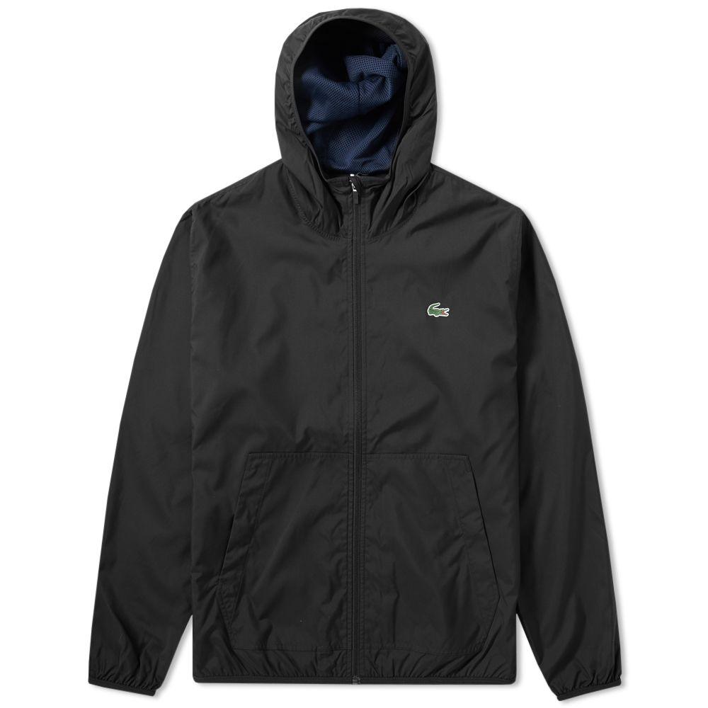 12036299b238 Lacoste Hooded Windbreaker Jacket Black