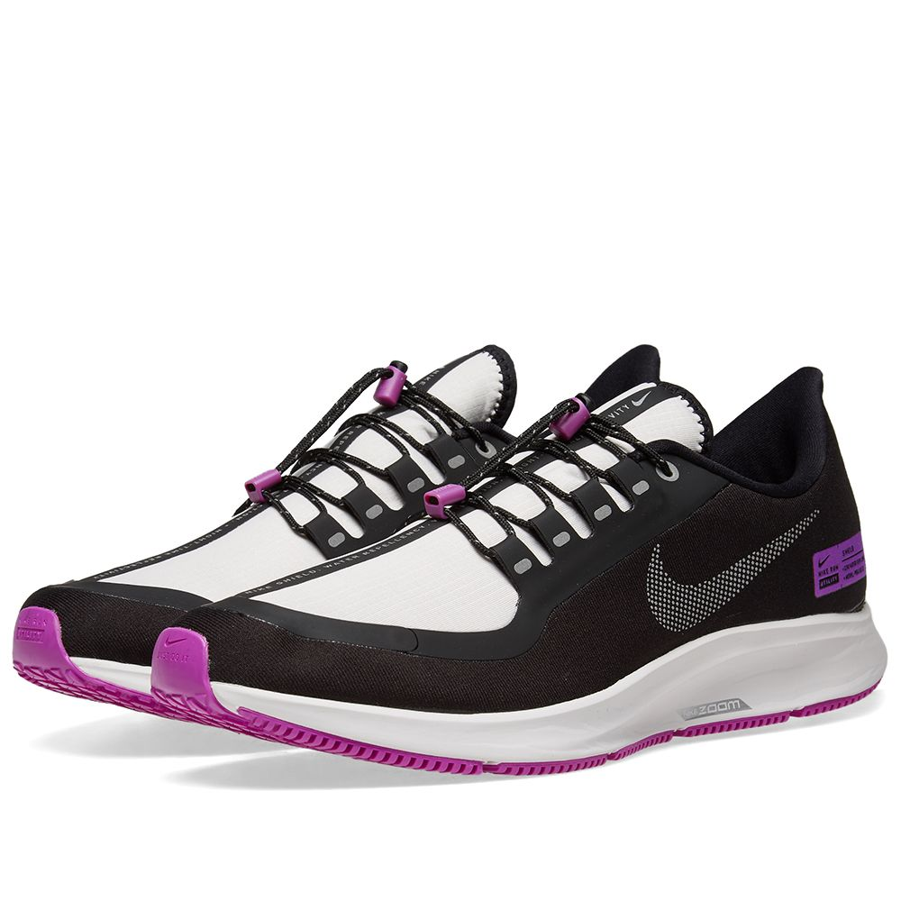 uk availability 958df ecbae Nike Air Zoom Pegasus 35 Shield. Black, Silver  Violet. CA185 CA115.  Plus Free Shipping. image