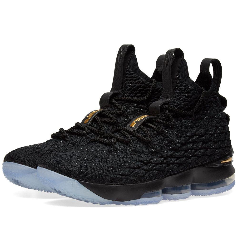 7a0b8759cf73 Nike LeBron XV Ghost Black   Metallic Gold