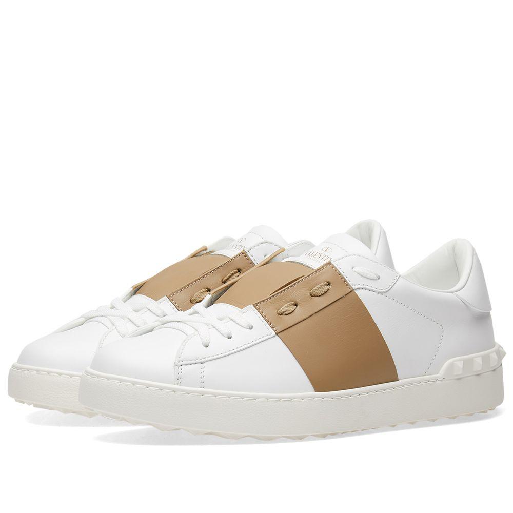 4b89353ab5f9fe Valentino Open Low Top Sneaker White   Desert Sand