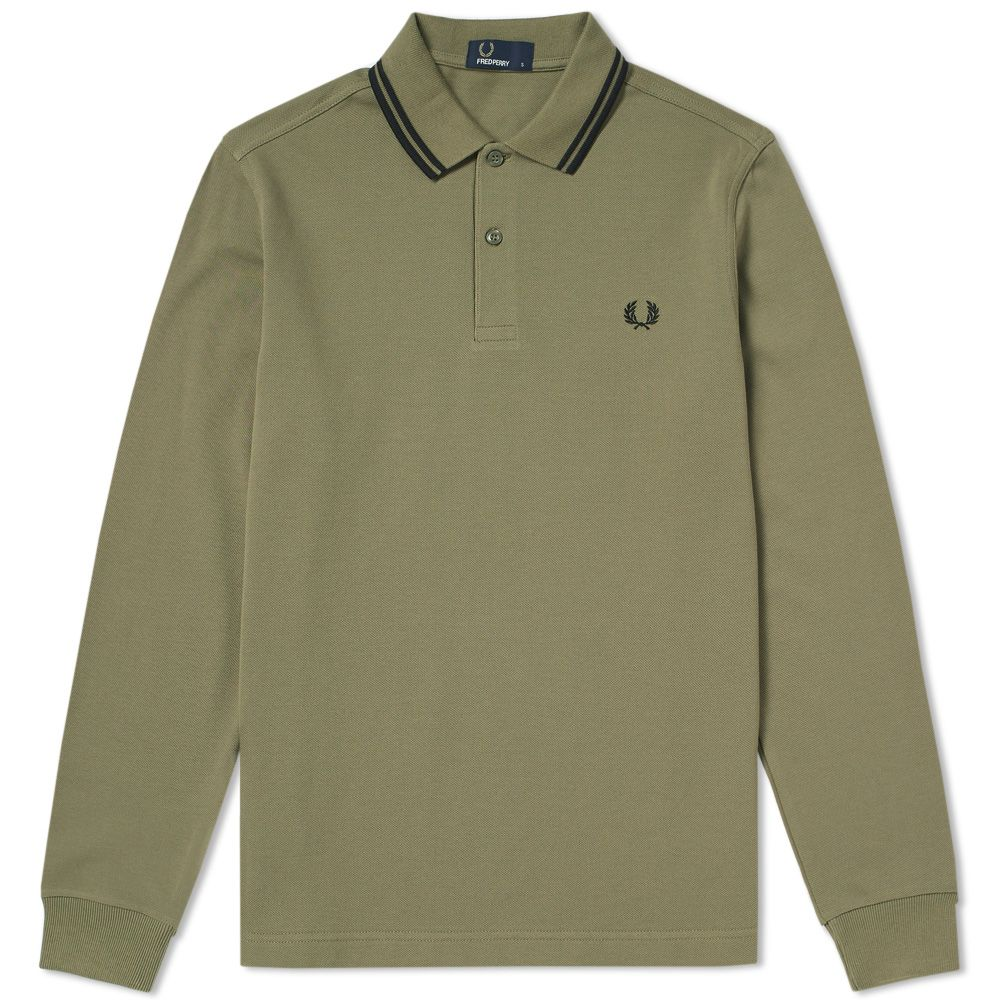 Fred Perry Long Sleeve Twin Tipped Polo Olive Black End