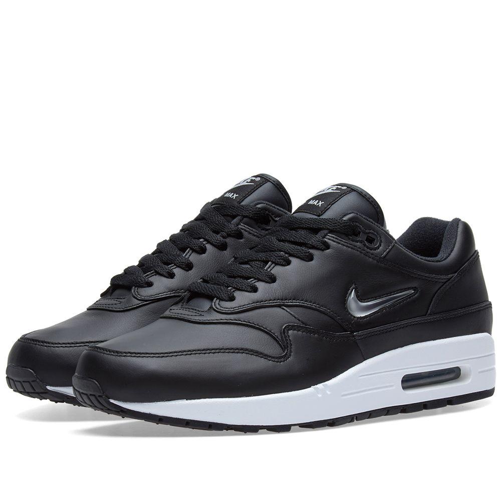 cabc2705b3 Nike Air Max 1 Jewel Black, Metallic Silver & White | END.