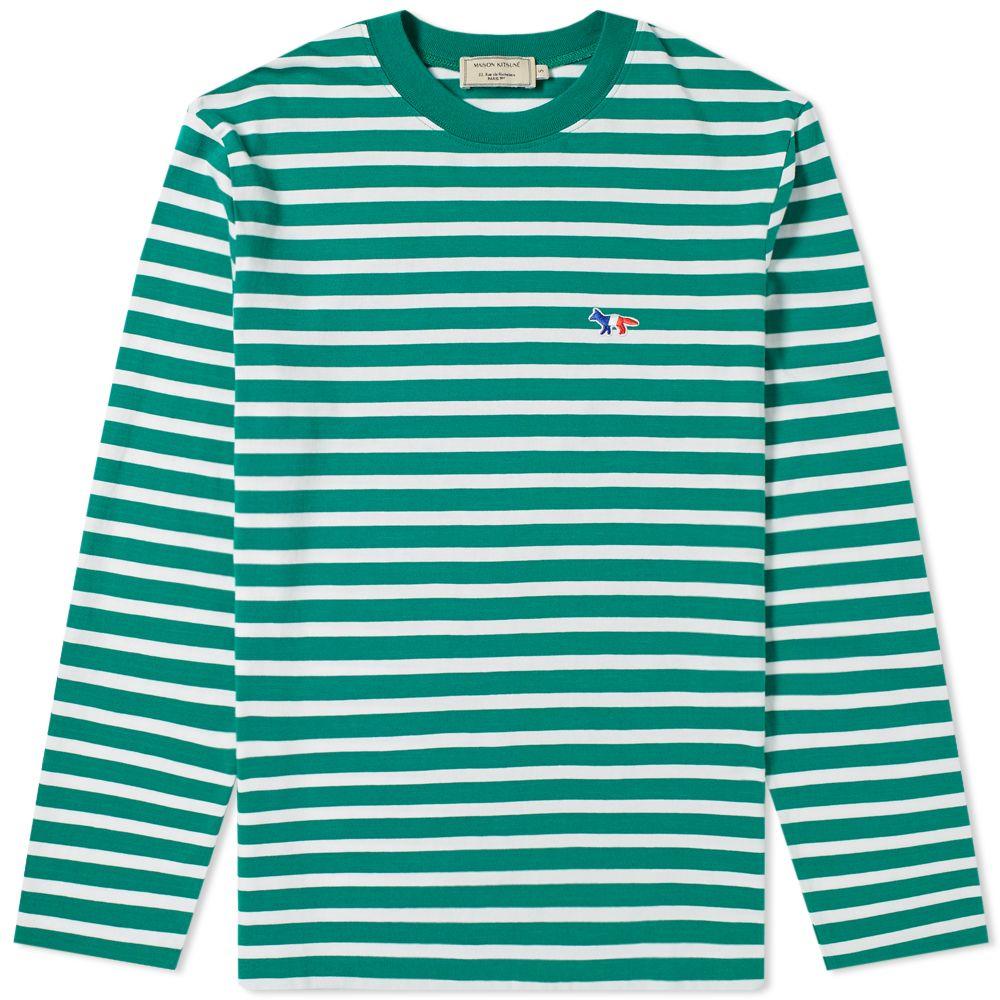 38c4f85ab740 Maison Kitsuné Long Sleeve Stripe Tricolour Fox Patch Tee Green ...