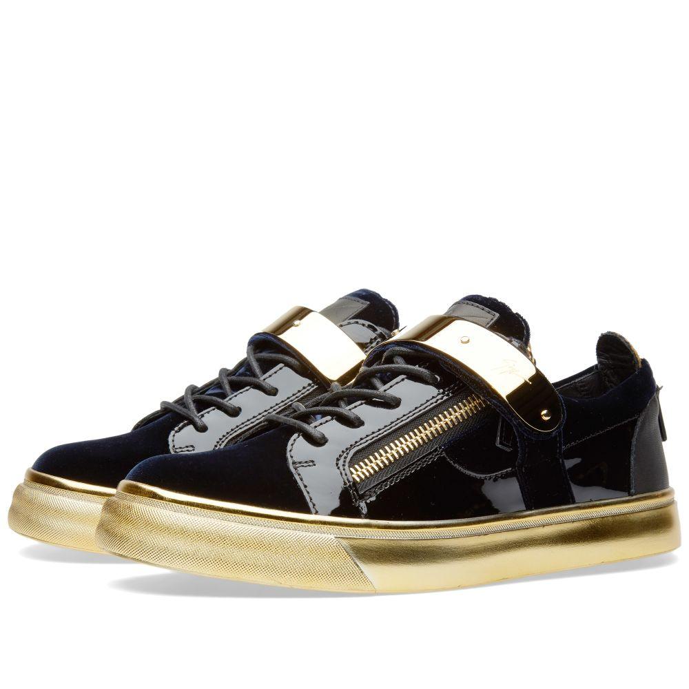 76f920de6eae Giuseppe Zanotti Gold Sole Single Clasp Low Sneaker Navy