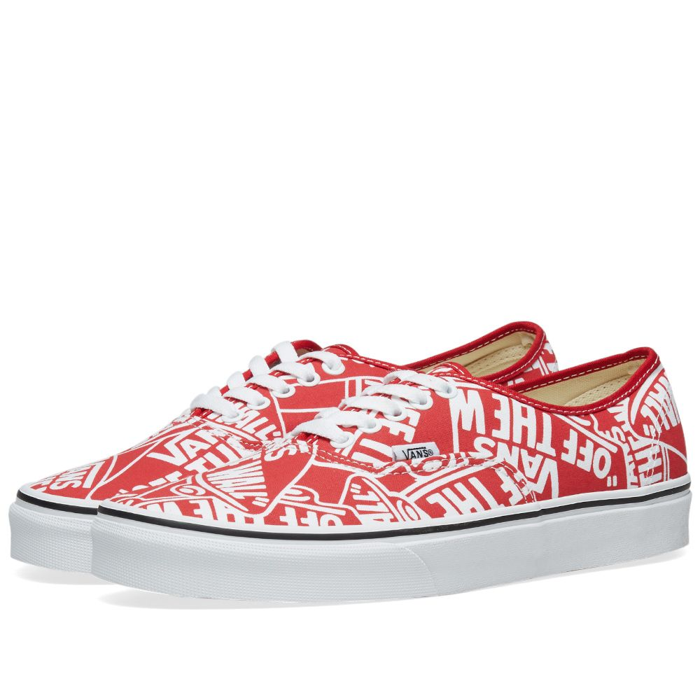 9b3be9b90030 Vans Off The Wall Printed Authentic OTW Repeat Red   True White