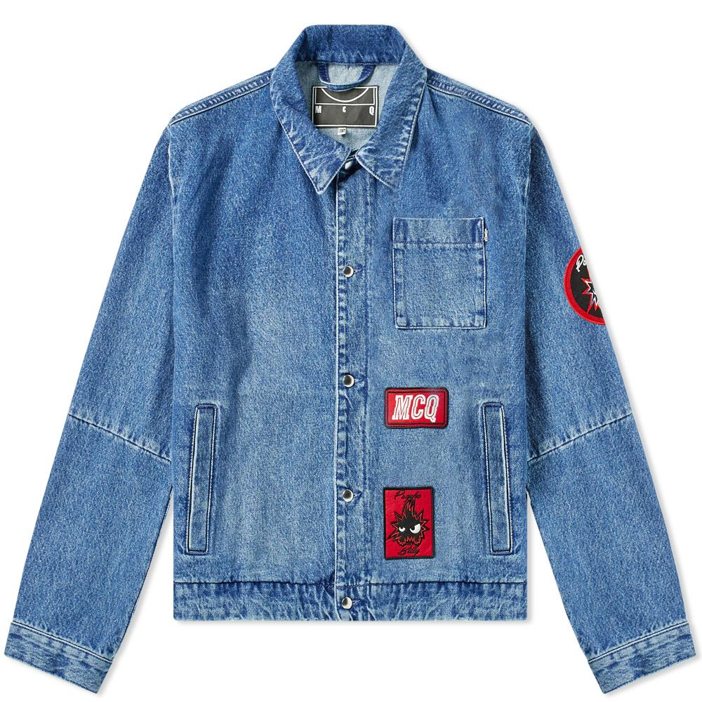 3f8f8c8041 McQ Alexander McQueen Patch Denim Jacket Distressed Blue