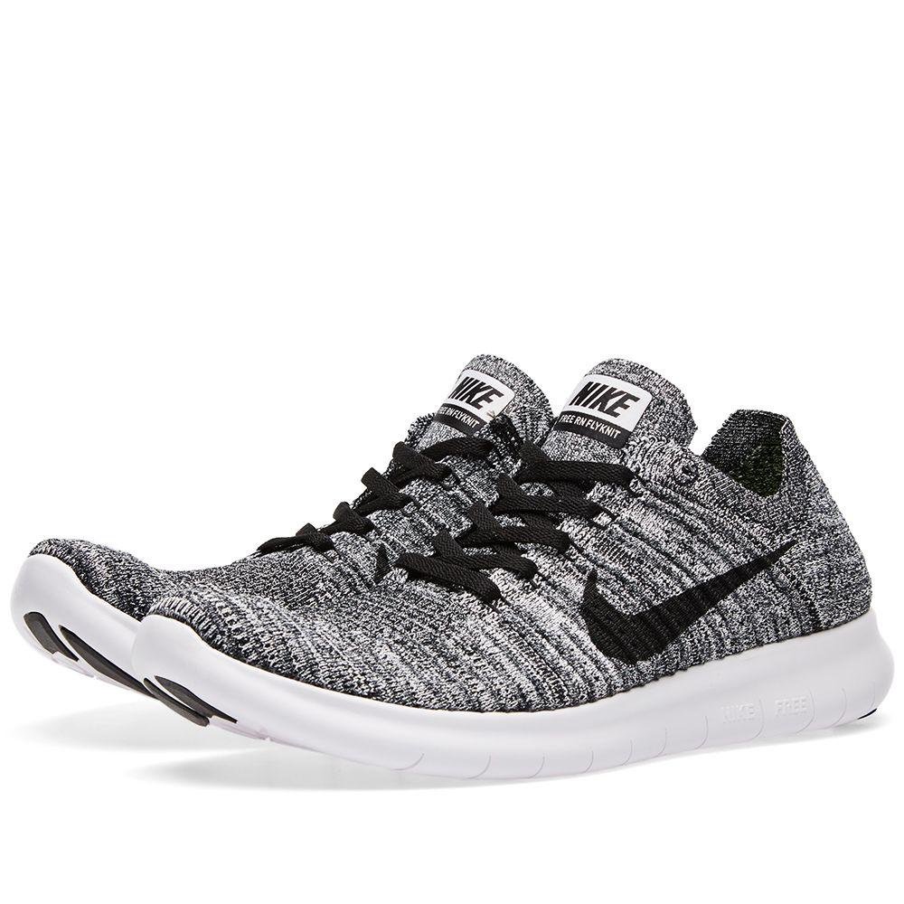 604b78fc13503 Nike Free Run Flyknit White   Black