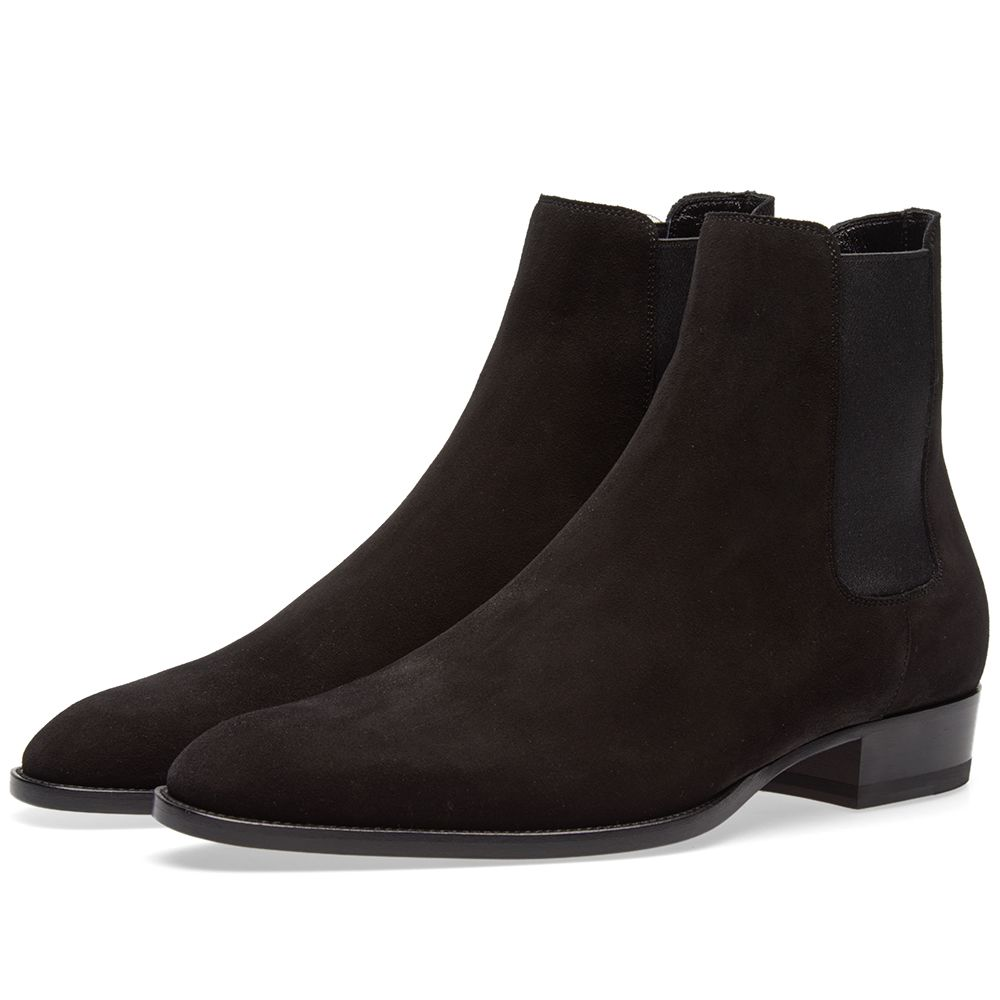 42d63f62ff90 Saint Laurent Wyatt Suede Chelsea Boot Black