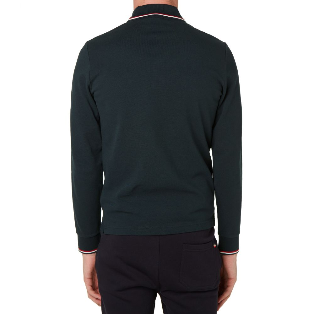 259573c6a Moncler Long Sleeve Slim Fit Pique Polo Navy