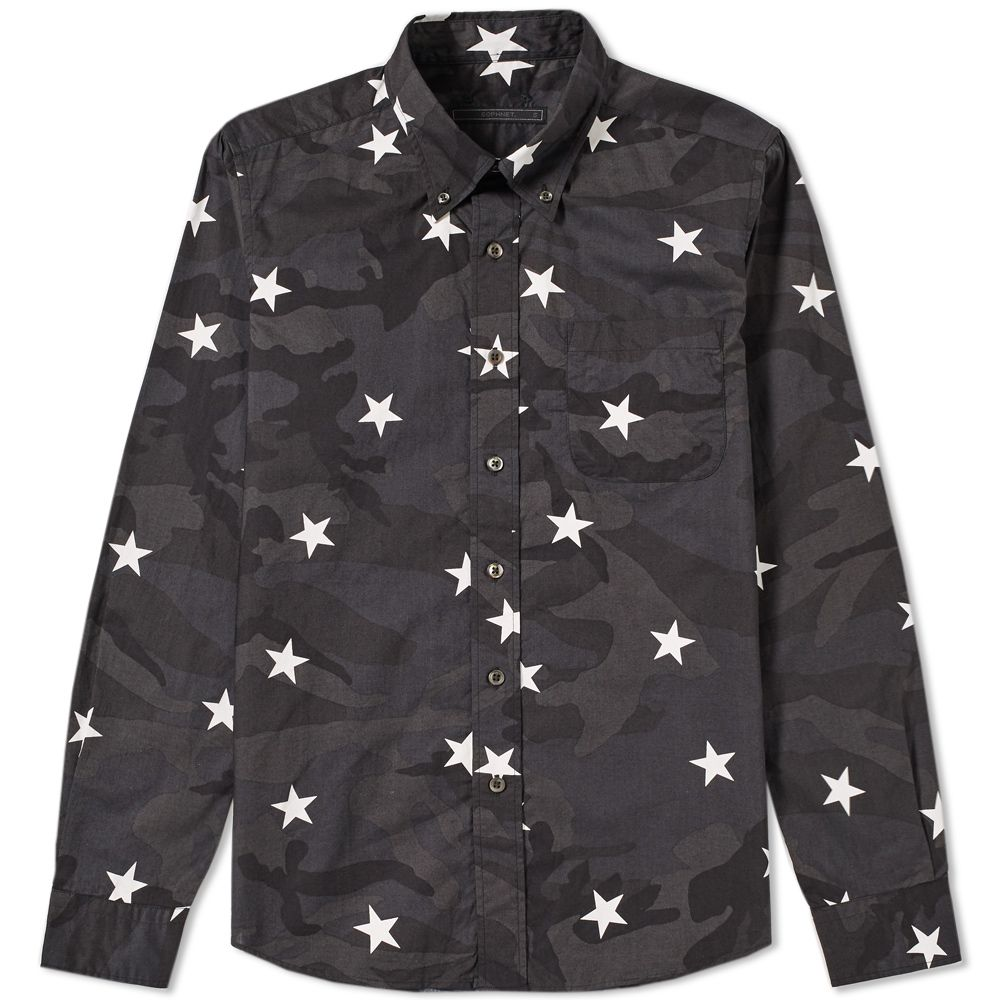 38174e56f7 SOPHNET. Camouflage Loan Star Shirt Black