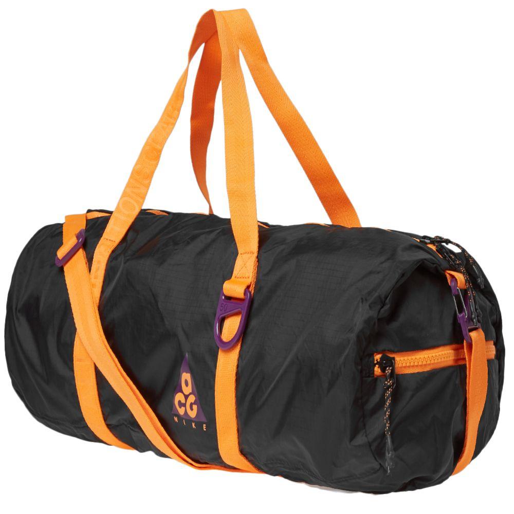 3a06854a9e Nike ACG NSW Packable Duffle Bag Black   Bright Mandarin
