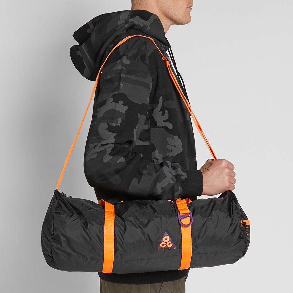 617430f7b9 Nike ACG NSW Packable Duffle Bag Black   Bright Mandarin