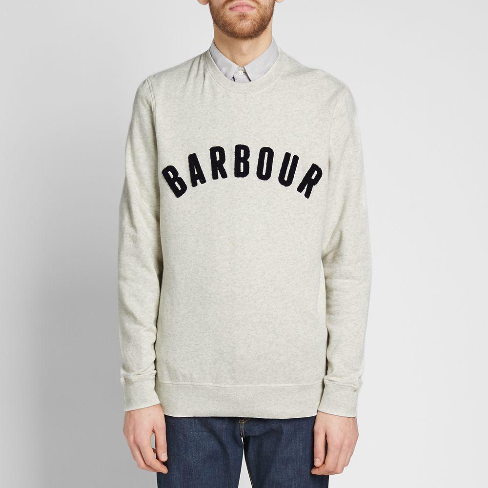 6045bacbdf578 Barbour Prep Logo Crew Sweat Ecru Marl