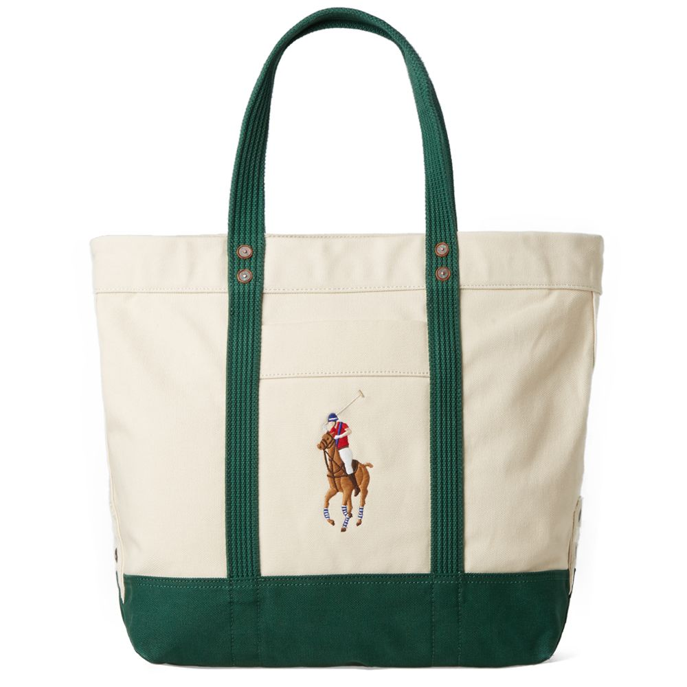 686bf56c1bc6 Polo Ralph Lauren Embroidered Tote Bag. Natural   Green.  145  79. image
