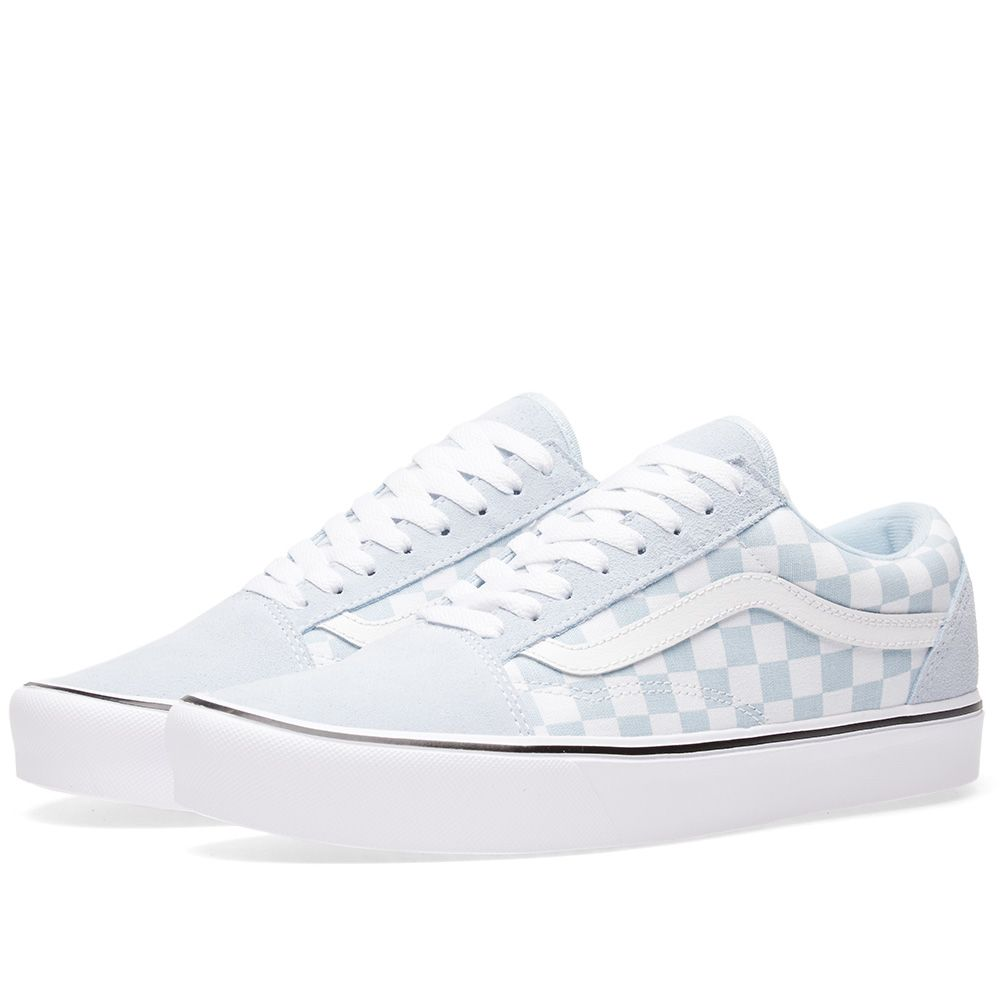 08228e930fb58b Vans Old Skool Lite Checkerboard Baby Blue   True White