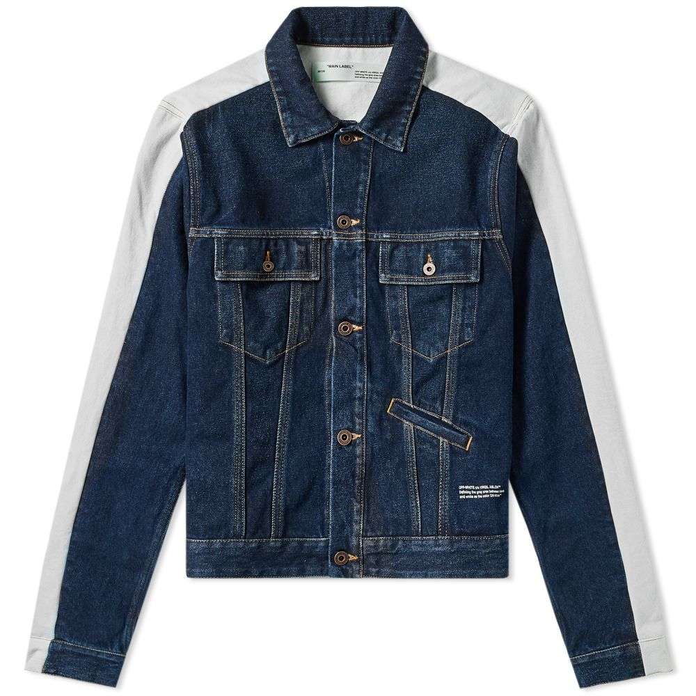 3e01fa246b Off-White Exaggerated Sleeve Denim Jacket Dark Wash