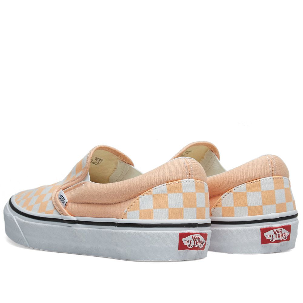 Vans Classic Slip On Checkerboard Bleached Apricot   True White  0d554c24f