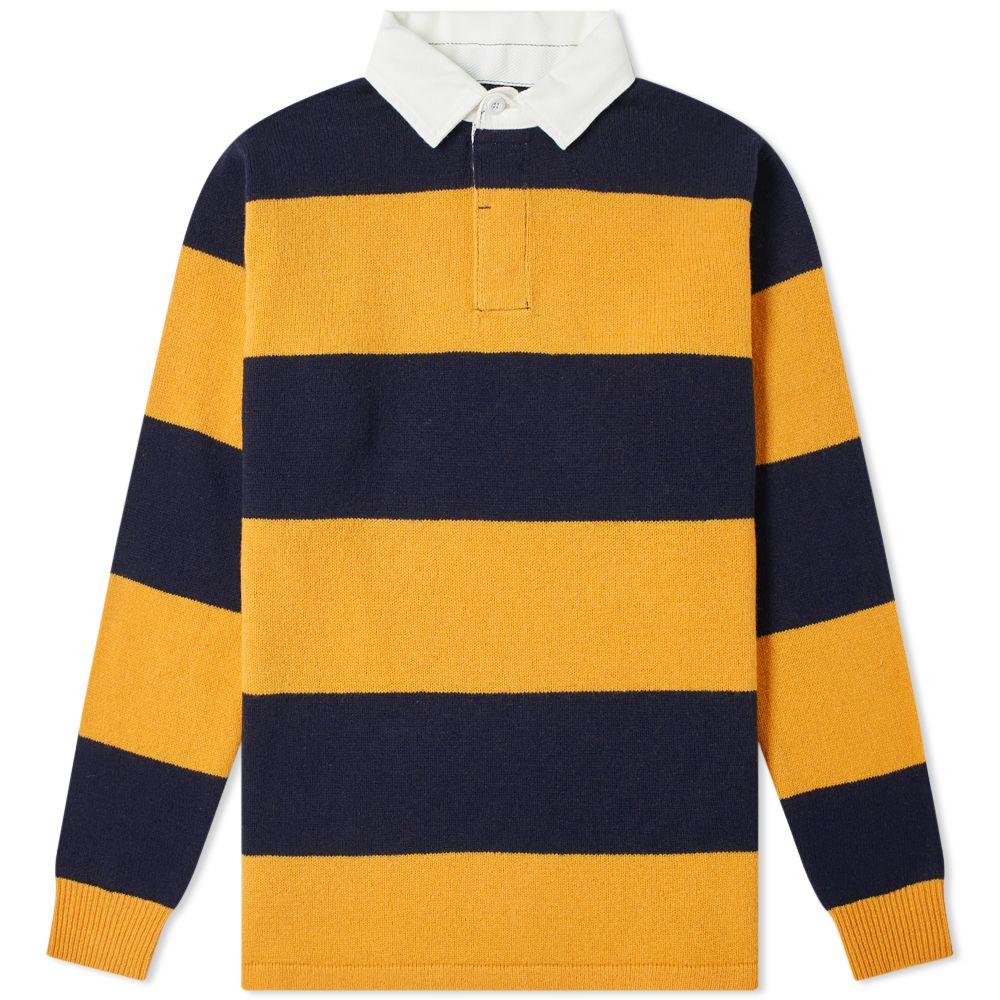 f42191270871b Beams Plus Knitted Stripe Rugby Shirt Yellow   Navy