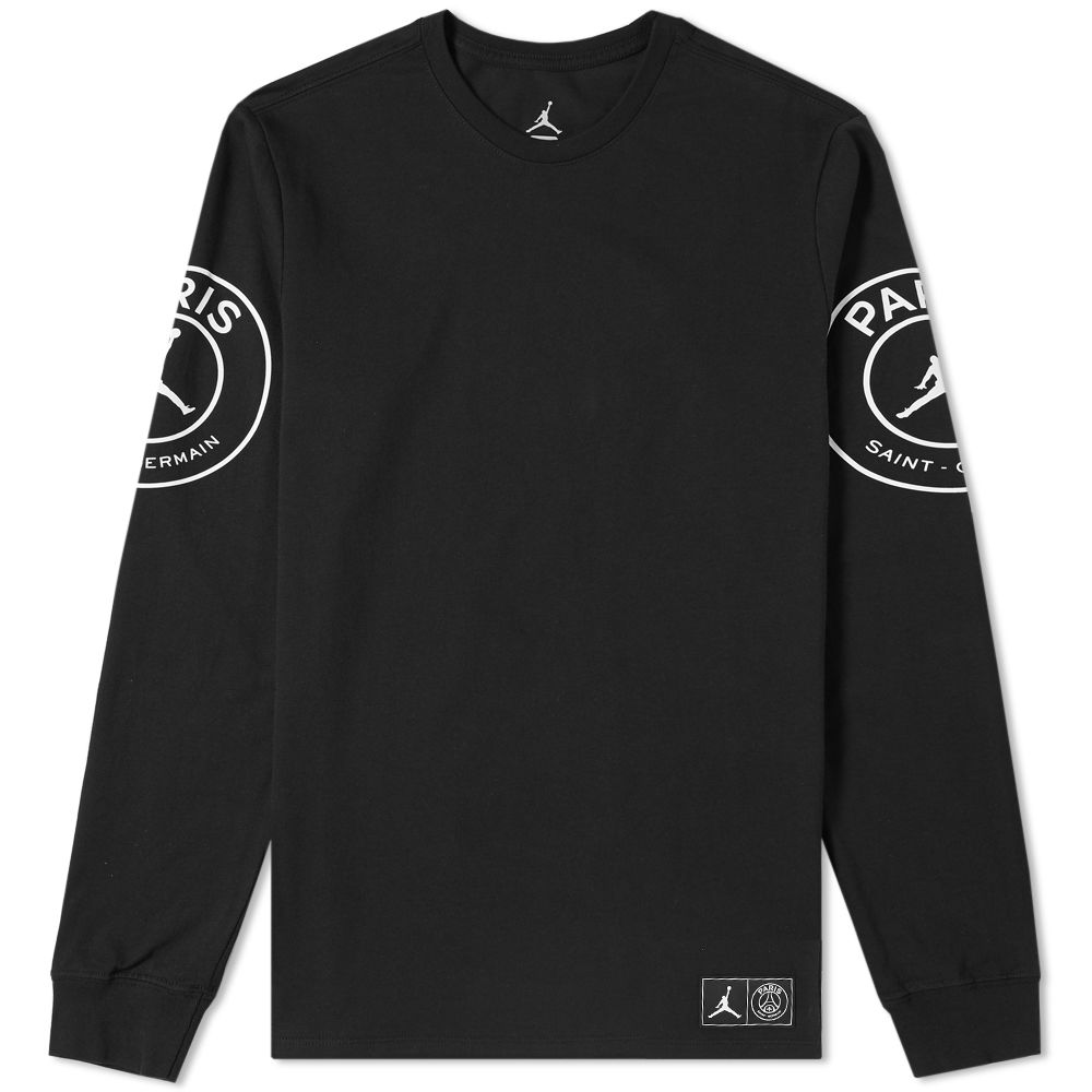 Jordan x Paris Saint-Germain Long Sleeve Tee Black   White  b9aa45535