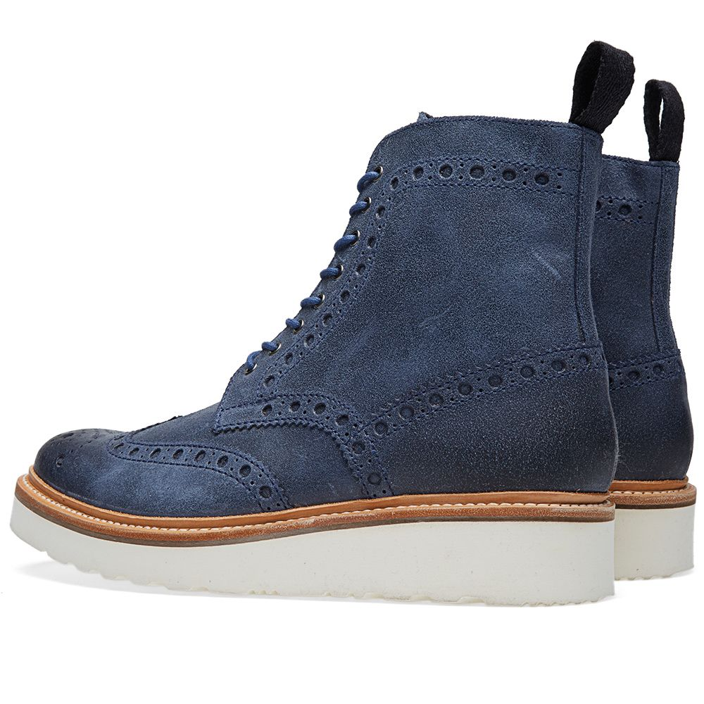 a68a1a7d529 Grenson Fred V Brogue Boot Blue Ruff Out Suede