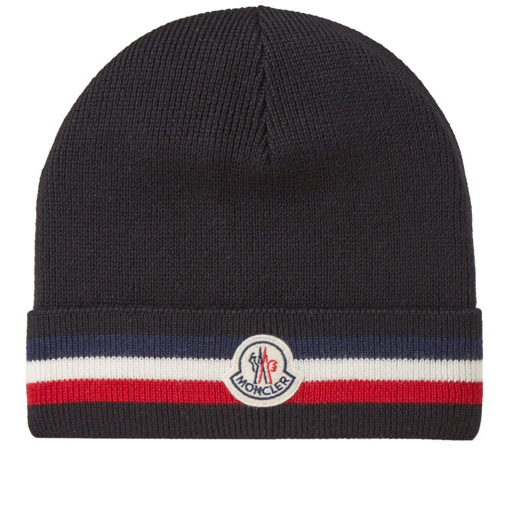 3086ce126e8 Moncler Tricolour Stripe Beanie Black