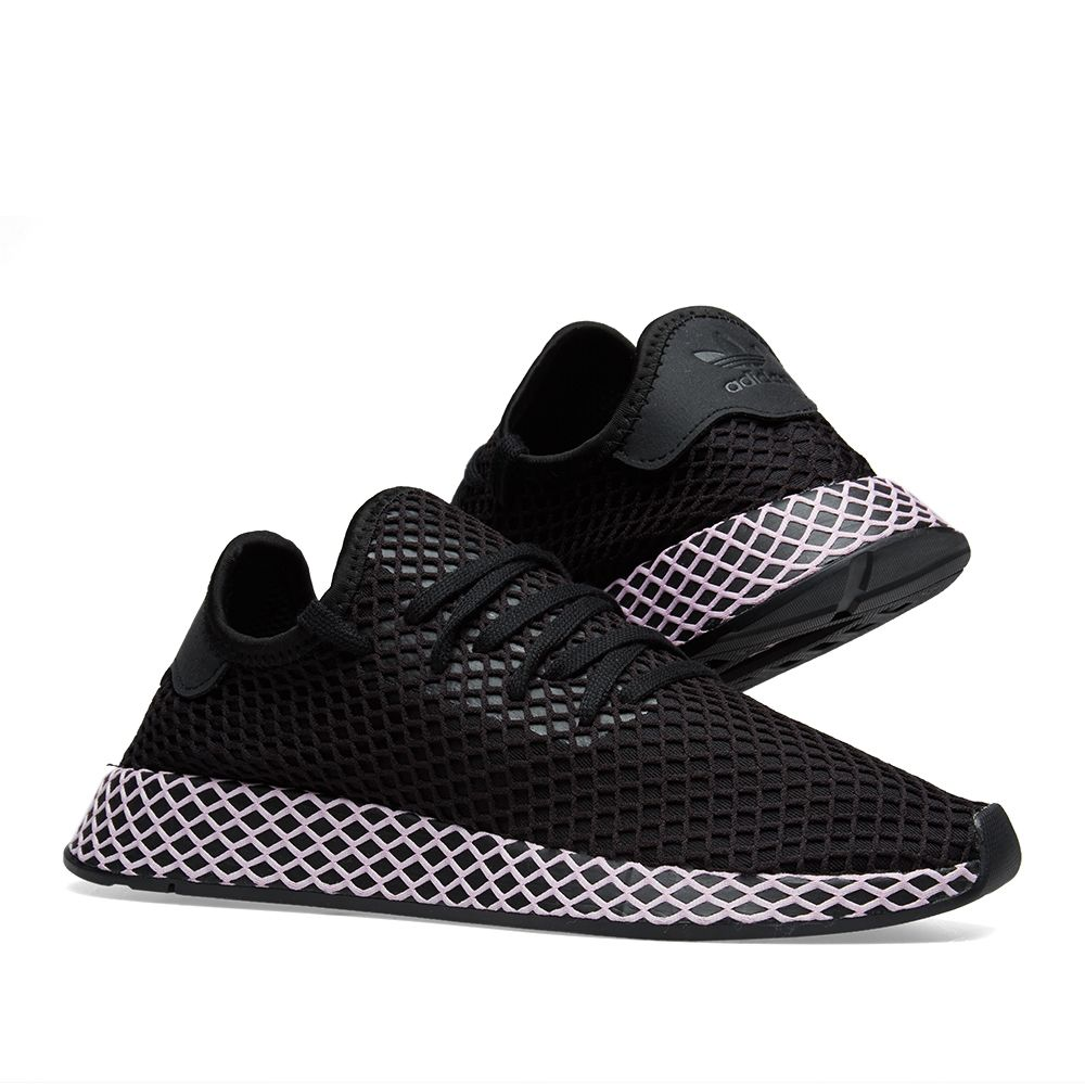 free shipping b3898 eee08 Adidas Deerupt W. Core Black  Clear Lilac