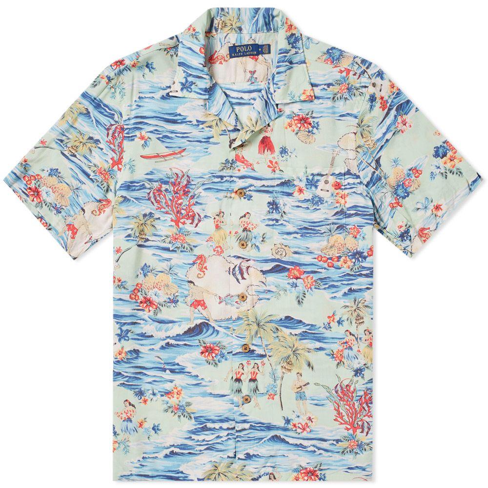Polo Ralph Lauren Aloha Print Vacation Shirt Blue  b7e55b383776