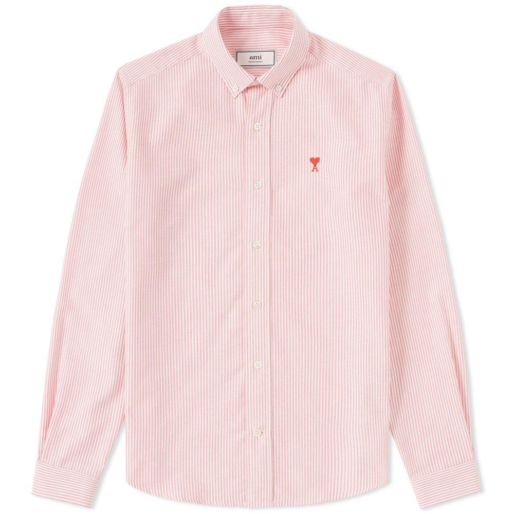 4051607a724 AMI Button Down Heart Logo Oxford Shirt Red   White Stripe
