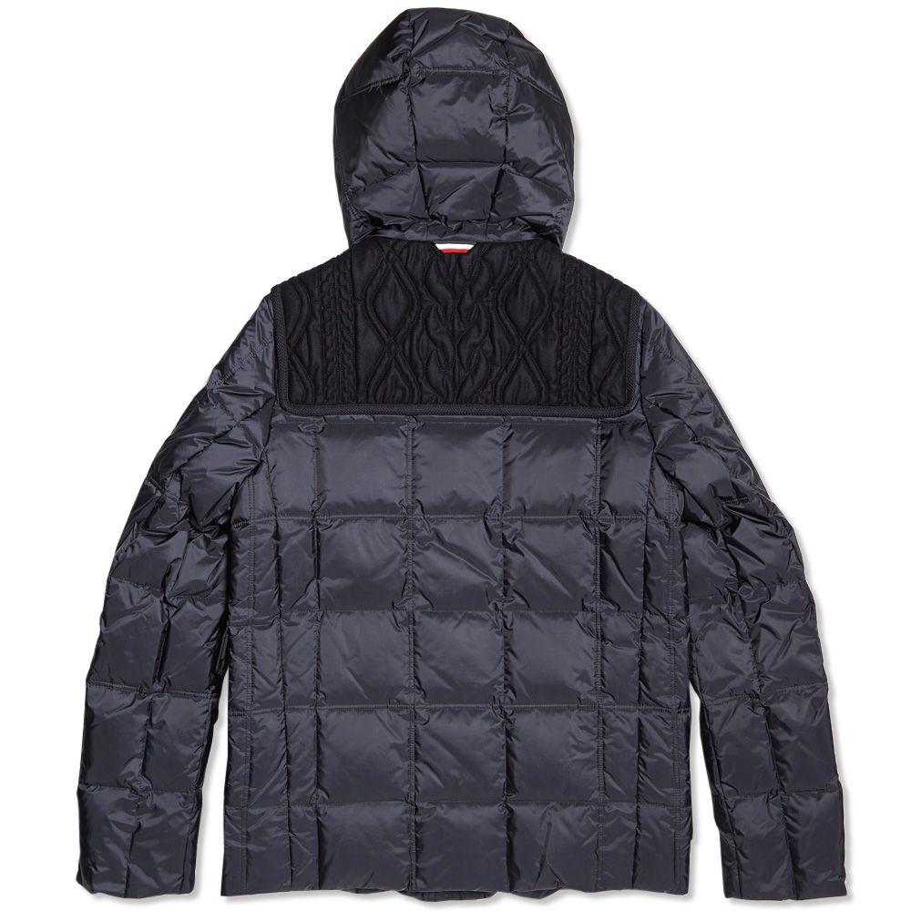 af114213edef Moncler Gamme Bleu Shetland Wool Cable Panel Down Jacket Navy