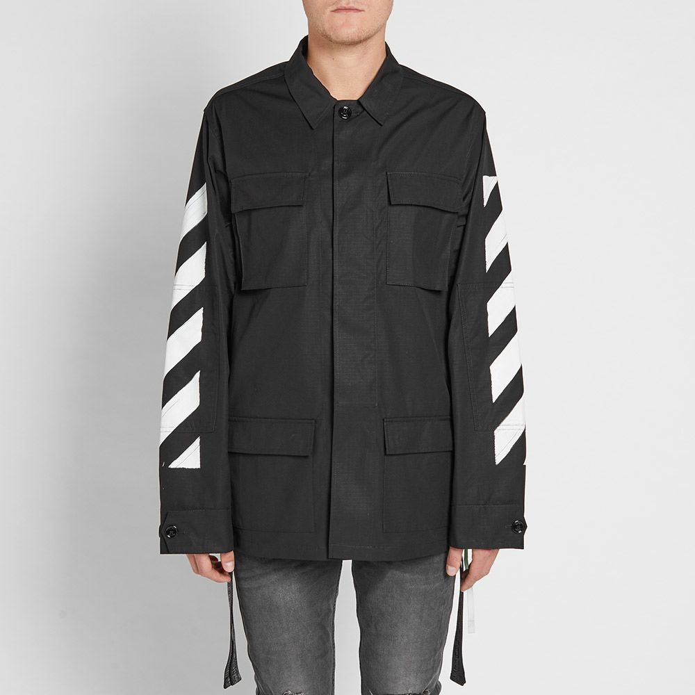 Off White Diagonals Brushed Field Jacket Black Amp White End