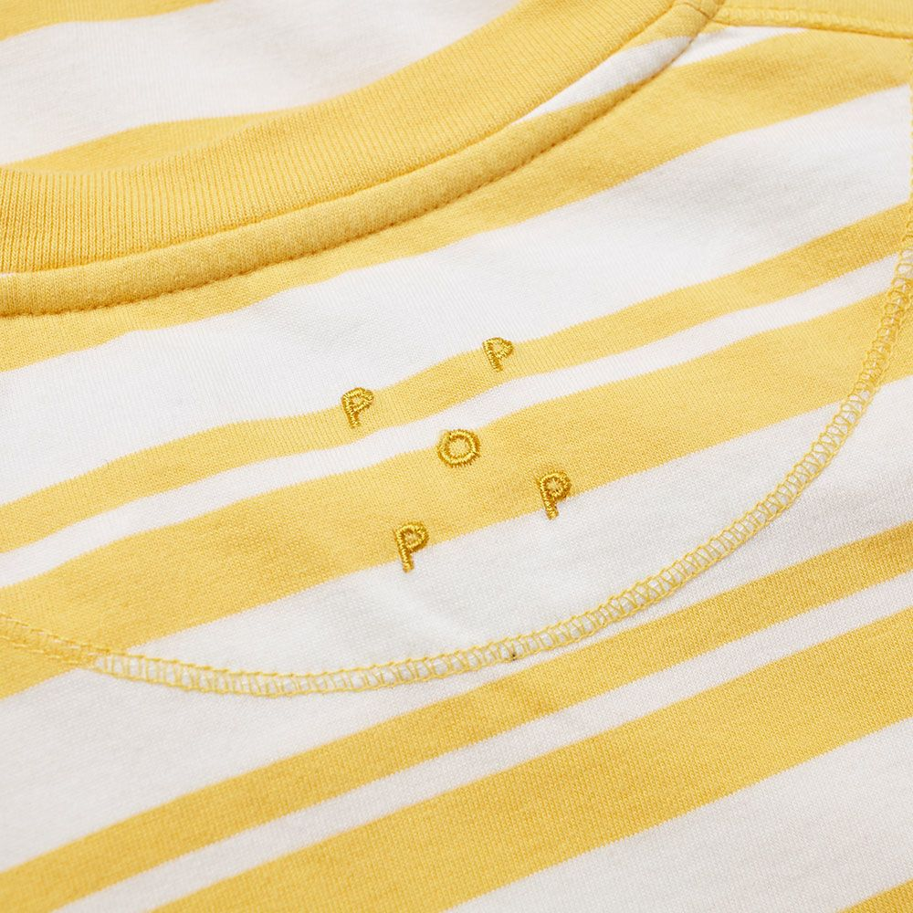 f12e38018e1024 Pop Trading Company Stripe Pocket Tee Yellow   White