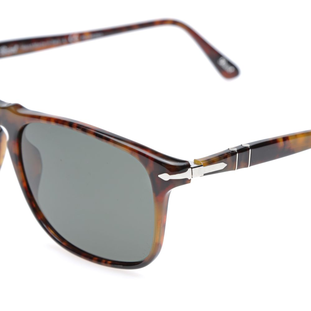 0089795df4 Persol 3059S Square Framed Polarised Aviator Sunglasses Havana