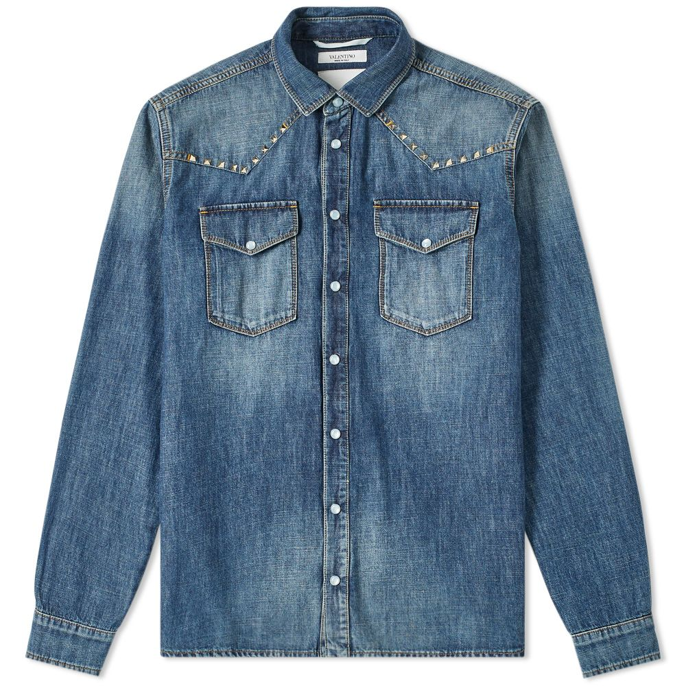 53af7e249a Valentino Rockstud Untitled Western Denim Shirt Blue