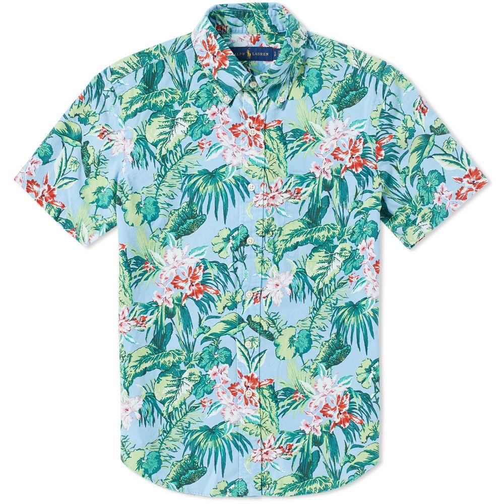 a3ad479365a57 Polo Ralph Lauren Short Sleeve Hawaiian Floral Shirt Palm Floral