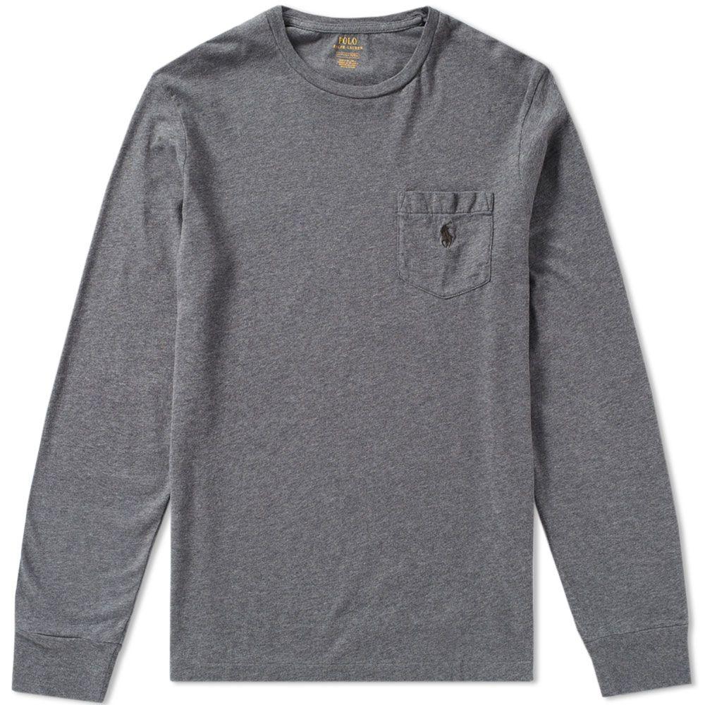 Polo Ralph Lauren Long Sleeve Pocket Tee Stadium Grey Heather  4537d6516