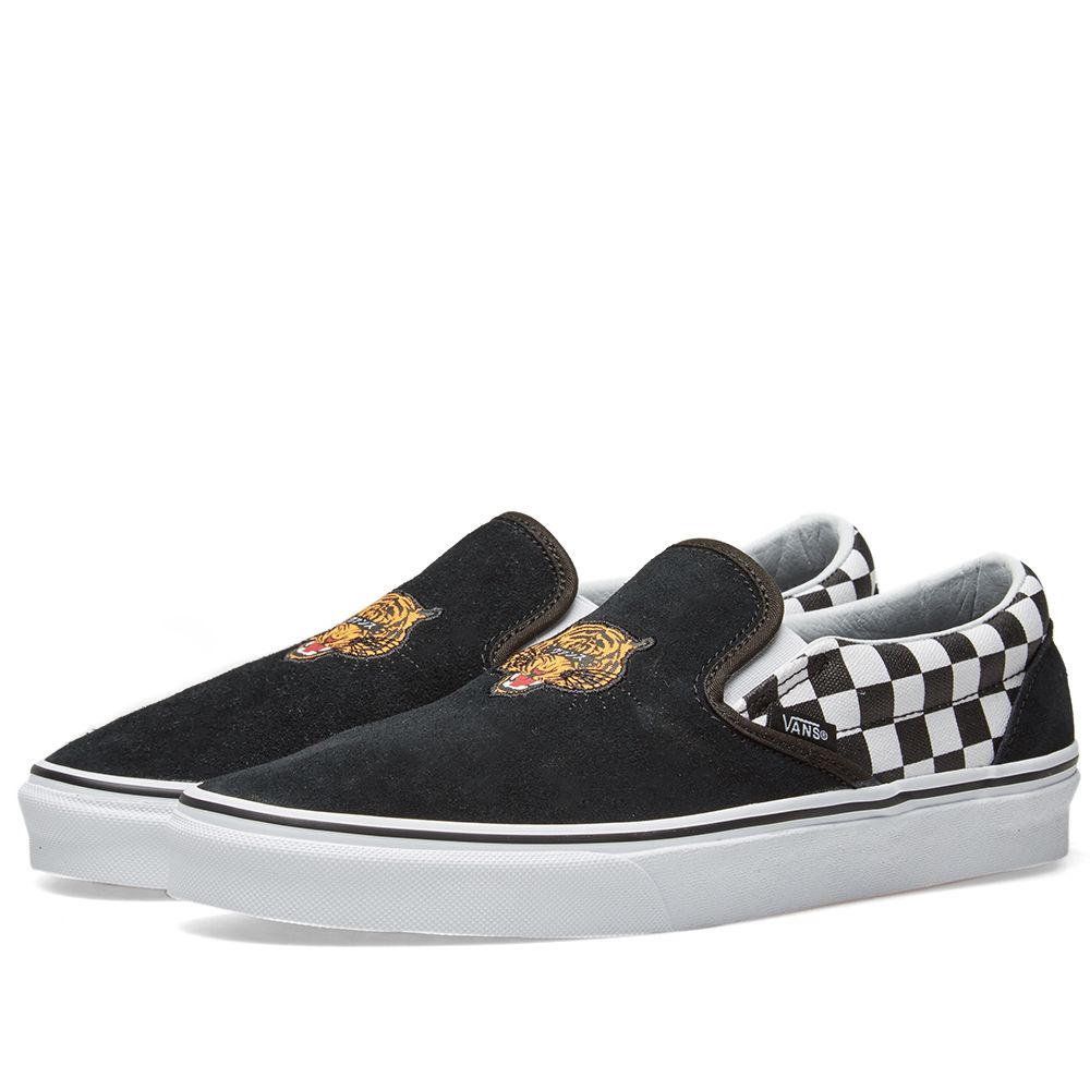 1b78afa4d3a23 Vans UA Classic Slip On Tiger Check Black   White